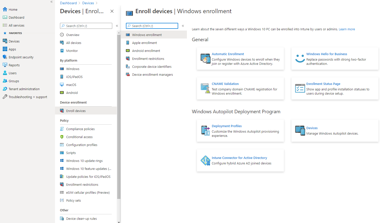 Intune registrace Android