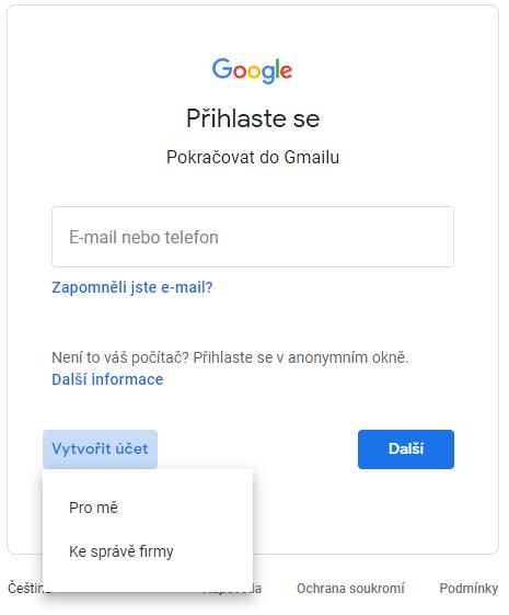 Registrace Google
