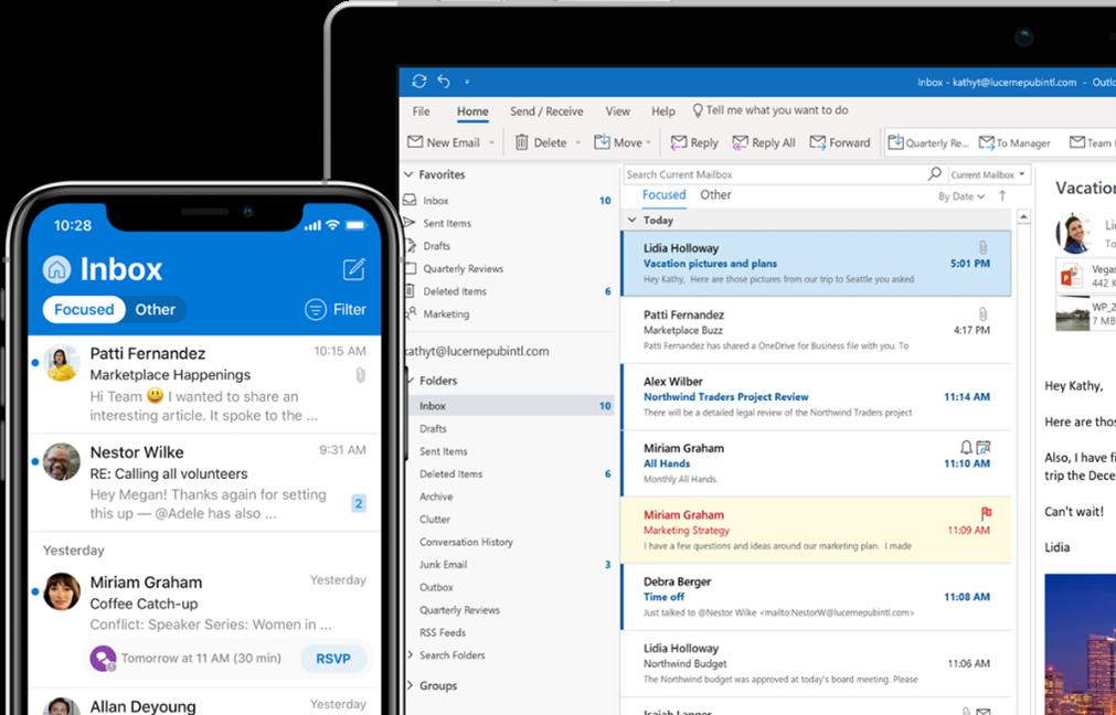 Outlook v základním nastavení. Počítač a mobil.