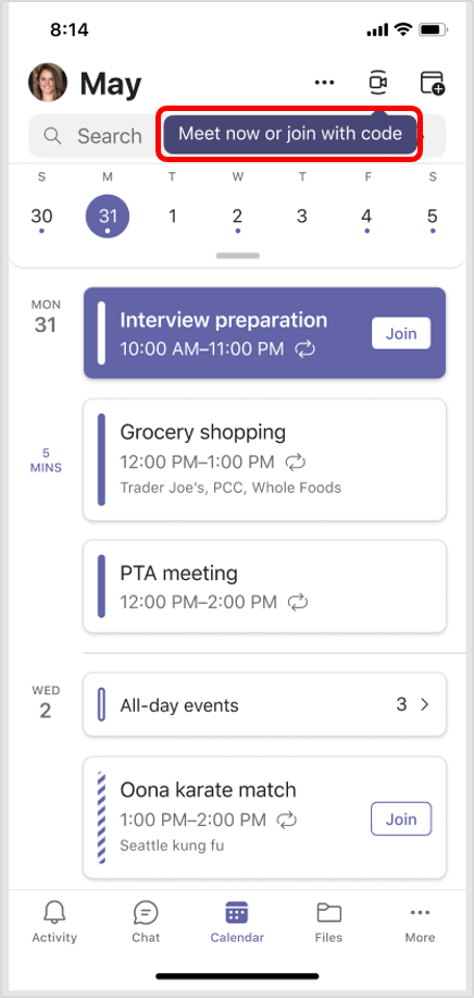Kalenář v aplikaci Teams