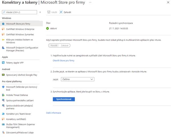 Nastavení konektoru s Microsoft Store pro firmy